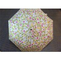 Buy cheap Manual Open Transparent 3 Fold Umbrella Pink Flower Printed 21 Inch 8 Ribs from Wholesalers