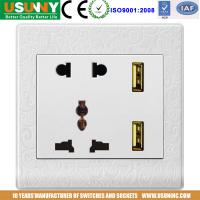 China 5V2.4A USB socket double USB socket new design  5 holes usb socket brushed stainless steel frame 2 colors factory