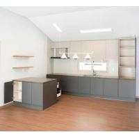 Buy cheap Modern Kitchen Cabinet Customized High Cabinet Kitchen Island Cabinet with Gray MFC Door Plate Quartz Stone Counter from Wholesalers