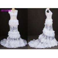 The cake layers style white transparent mermaid Wedding Dress