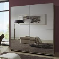 Simple Space Saving Melamine Bedroom Furniture Modern Luxury MDF With Two Full Mirror