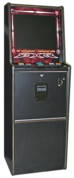 """China Fun Company8 Liner  Slimline Tallboy58"""" high, 20"""" wide, 16.5"""" deepFeatures:19"""" LCD Makvision autosync screen (CGA and VGA) with 1 year warrantyDesigned for stacker bill validator200 watt p factory"""