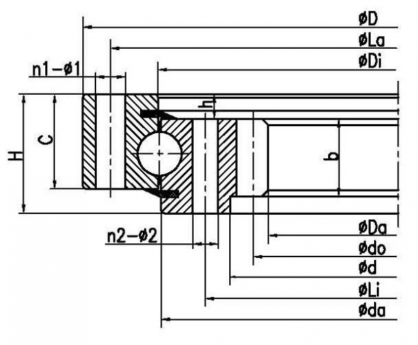 China Four point contact ball slewing bearing (internal gear type) factory