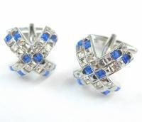 Buy cheap - Blue and White Crystals Cross Cufflinks from Wholesalers