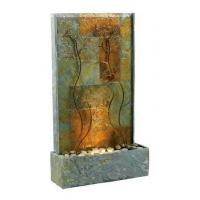 China Indoor/Outdoor Copper-Toned Slate Floor Fountain with Metallic Vine Accents - Copper Vines on sale