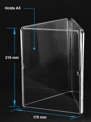 China Acrylic Table Tent Clear acrylic A5 menu holder with three sides factory