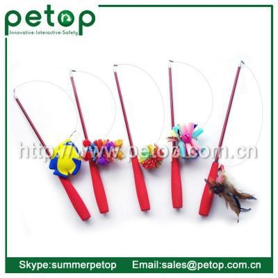 Quality Cat Scratcher Telescoping Fishing Rod Spin Feather Wand Cat Teaser for sale