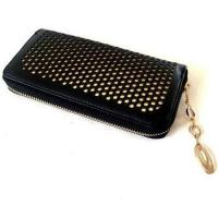 China Black with Golden Lining PU Hollowed Checkbook Holder factory