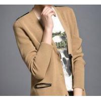 China 2013 Fashion Women Pu Spliced Neutral Pure Cashmere Knitted Crewneck Cardigan on sale