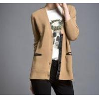 China 2013 New Ladies Pu Spliced Draped Front Button Down 100% Cashmere Knitted Crewneck Cardigan on sale