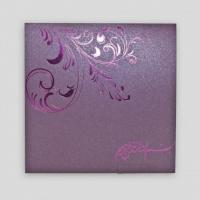 XMT-C036 purple foil stamping greeting card & envelope printing