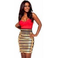 Buy cheap Anti - Wrinkle Gold Foil Bandage Dress Sleeveless Rayon Nylon Spandex Material from Wholesalers