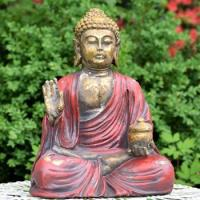 "18"" TALL MAGNESIUM BUDDHA IN ANTIQUE RED FINISH"