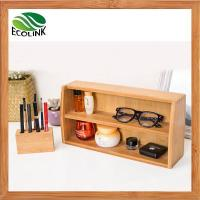 Decorative Desktop Bamboo Cosmetic Beauty Products Makeup Organizer Storage Tray Caddy