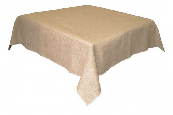 Quality Finished Edge Square Burlap Jute Tablecloth Table Overlay Natural 60''*60'' for sale