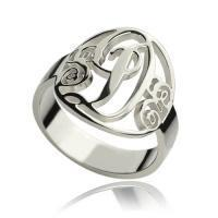 Personalized Rings Monogram Initial Sterling Silver