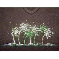 Buy cheap Christine Alexander v-neck tank Fitted black shirt waving palms size Large from Wholesalers