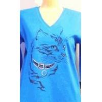 Buy cheap Christine Alexander blue shirt Cat Crystal collar V-neck plus size 2x from Wholesalers
