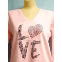 Buy cheap sold out July 28 plus size pink shirt Love V-neck 1x only from Wholesalers