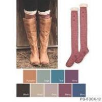 Buy cheap sold out Simply Noelle boot socks knee crochet lace comes khaki from Wholesalers