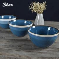 Buy cheap Blue reactive glaze ceramic bowl with brown rim from Wholesalers