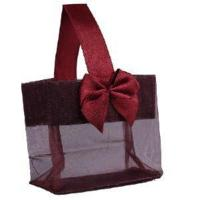 """China Burgundy Sheer Tote with Satin Handle & Bow (3.25"""" x 3.25"""" x 2""""), 12 bags SHTOTE-BU-D factory"""