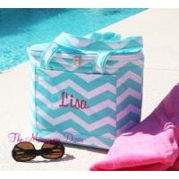Monogrammed Chevron Print Insulated Cooler Tote Bag
