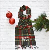 Buy cheap Monogrammed Plaid Scarf - Charcoal Red & Green from Wholesalers