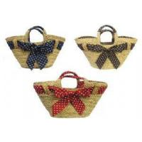 Bags New Retro 1940's 50's style Polka Dot Straw Beach Picnic Shopping Basket Bag