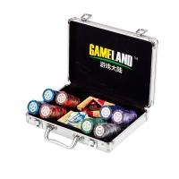 200pcs Poker Chip Set In Silver Aluminium Case With 14g Leaf Style Chip With Normal Sticker