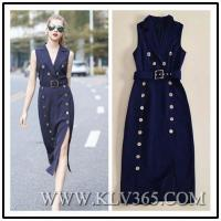 Buy cheap High Quality Fashion Clothes Double Breasted Long Trench Dress For Office Lady from wholesalers