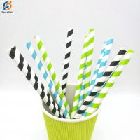 Buy cheap biodegradable Pink Striped Drinking Paper Straw for bar accessories from Wholesalers