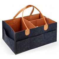 Leather handle felt baby diaper caddy organizer