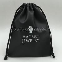 Buy cheap Black Color Custom PU Leather Drawstring Bag from Wholesalers
