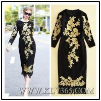 Buy cheap Latest Dress Design Women Fashion Embroidery Long Party Prom Dress from wholesalers